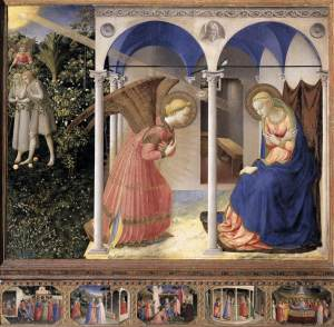 ANGELICO, Fra  The Annunciation  1430-32  Tempera on wood, 194 x 194 cm  Museo del Prado, Madrid