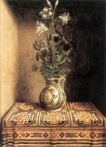 MEMLING, Hans  Flower Still-life  c. 1490  Oil on oak panel, 29,2 x 22,5 cm  Museo Thyssen-Bornemisza, Madrid