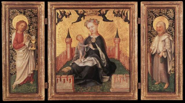 LOCHNER, Stefan  Triptych with the Virgin and Child in an Enclosed garden  1445-50  Oil on oak panel, 31,3 x 227,5 cm (central), 30,6 x 10,3 cm (each wing)  Wallraf-Richartz-Museum, Cologne