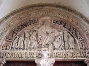 The late Romanesque tympanum of Vézelay Abbey, Burgundy, France, dating from the 1130s